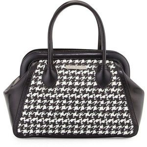 Charles Jourdan Viva Houndstooth leather satchel